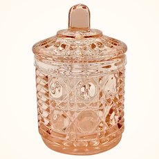 Windsor Mid-Century Pink Button and Cane Glass Covered Jam Jar by Federal Glass
