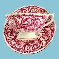 Coalport Bone China Pink Scrolls and Baskets 5012B Teacup and Saucer