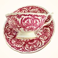 Coalport Bone China Pink Scrolls and Baskets 5012B Teacup and Saucer