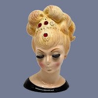 Lefton #3517 Blonde Genie-Like Head Vase 6-1/4 Inch