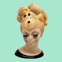 Lefton #3517 Blonde Genie-Like Head Vase 6-1/4 Inch