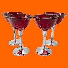 Paden City Glades #215 Ruby Red Glass Wine Farberware Chrome Stems - Set of Four