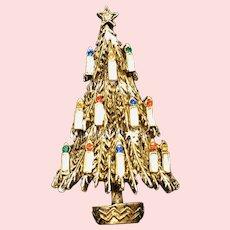Vintage ART© Christmas Tree Pin Gold-Tone White Enamel and Rhinestone Candles