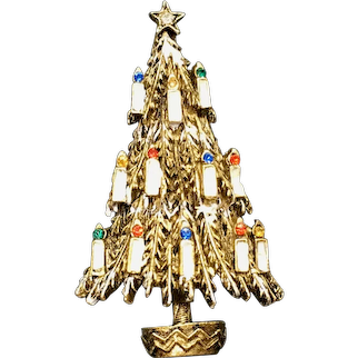 Vintage ART© Christmas Tree Pin Gold-Tone White Enamel and Rhinestone Candles