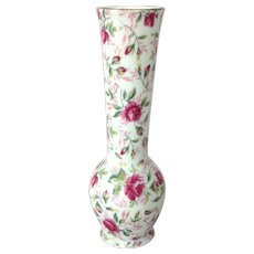 Vintage Lefton 1950s Rose Chintz Bud Vase