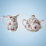 Vintage Lefton 1950s Rose Chintz Covered Sugar and Creamer