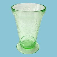 Bowknot Early Depression Glass Green Footed Tumbler Late 1920s