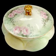 Early 1900s GDA Limoges Green Covered Trinket Box Gerard, Dufraisseix, and Abbott Hand Painted Roses