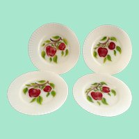 MacBeth Evans Petalware Depression Glass with Hand Painted Apples 8-inch Luncheon Plates - Set of Four