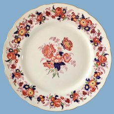 Royal Cauldon England Majestic 2888K Cobalt Blue, Red, and Gold Dinner Plate