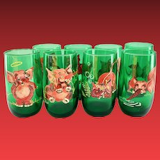 Hand Painted Pink Elephants on Anchor Hocking Mid-Century Forest Green Glass Tumblers