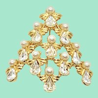 Angels Christmas Tree Pin Rhinestones and Simulated Pearls by Nina Ricci for Avon
