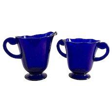 Fostoria Lafayette Cobalt Regal Blue Glass Sugar and Creamer