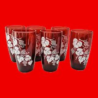 Anchor Hocking Royal Ruby Red Tapered Tumblers White Grape Set of Six