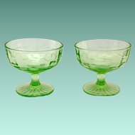 Hocking Block Optic Green Depression Glass Sherbets Set of Two