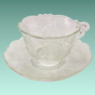 Cambridge Elegant Glass Wildflower #3900 Crystal Cup and Saucer