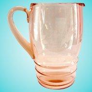 Dunbar Flint Pink Depression Glass Wheel Cut Water Pitcher
