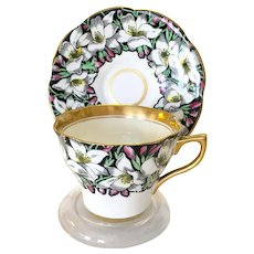 Rosina Bone China England Black and White Lily Gilded Teacup and Saucer #4860/A