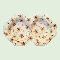 Moriyama Morimachi Japan Red Chintz Two-Section Tidbit Dish
