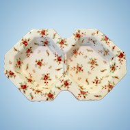 Moriyama Morimachi Japan Red Chintz Two-Section Tidbit Dish