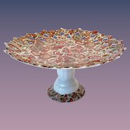 Royal Paisley Pierced Rim Rust-Colored Chintz Pedestal Tidbit Arnart Creations Japan
