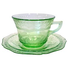 Patrician Spoke Green Depression Glass Cup and Saucer by Federal Glass