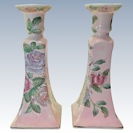 Pair Toyo Chinoiserie Enameled Tall Candlesticks Circa 1980s