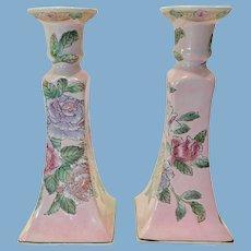 Pair Toyo Chinoiserie Enameled Tall Candlesticks Circa 1980s