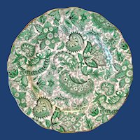 Royal Standard Bone China #1445 Green Paisley Chintz Luncheon Plate
