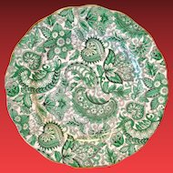 Royal Standard Bone China #1445 Green Paisley Chintz Luncheon Plate