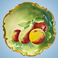 Coronet Limoges France Rococo Fruits Wall Charger Plate Artist Signed Barbet Early 1900s