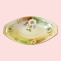 Artist Signed Mauville Open Rose Floral Oblong Celery Dish Naturalistic Hand Painted Porcelain