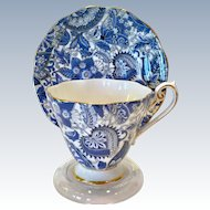 Royal Standard Bone China #1445 Midnight Blue Paisley Chintz Teacup and Saucer