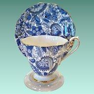 Royal Standard Bone China #1445 Midnight Blue Paisley Chintz Teacup and Saucer