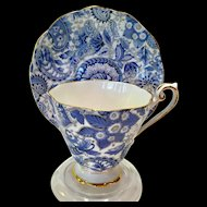 Royal Standard Bone China #1445 Royal Blue Paisley Chintz Teacup and Saucer