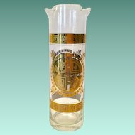 Culver Glass Coronet 22K Gold Mid Century Martini Mixer