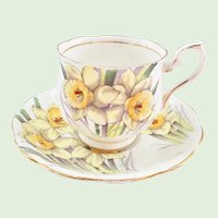 Royal Albert Bone China Flower of the Month Series Daffodil Teacup and Saucer