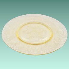 Florentine/Poppy No.2 Yellow Depression Glass Dinner Plate Hazel-Atlas