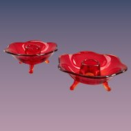 Fenton Ruby #848 Six-Petaled Glass Candlesticks Pair