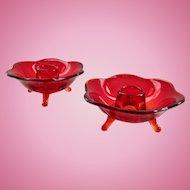 Fenton Ruby #848 Six-Petaled Glass Candlesticks Pair