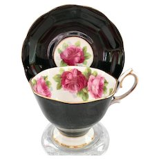 Royal Albert Bone China Old English Rose Black Teacup and Saucer