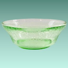 Florentine/Poppy No. 2 Green Depression Glass 4-1/2 inch Berry Bowl Hazel-Atlas