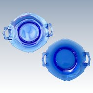 Set of Two Mt. Pleasant, Double Shield, Cobalt Blue Depression Glass 2-Handle Plates by L.E. Smith