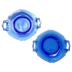 Set of Two Mt. Pleasant, Double Shield, Cobalt Blue Depression Glass 2-Handle Plates by L.E. Smith