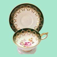Aynsley #2831 Teacup and Saucer Gold Filigree on Forest Green Bone China Pink Rose