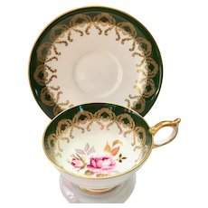 Aynsley #2831 Gold Filigree on Forest Green Bone China Teacup and Saucer Pink Rose