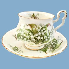 Royal Albert Bone China Sonnet Series Tennyson Lily of the Valley Teacup and Saucer
