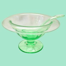 Green Depression Glass Rolled Rim Mayonnaise Compote with Cambridge Glass Ladle