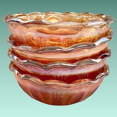 Beaded Panels Marigold Carnival Glass Berry Bowls - Set of Four