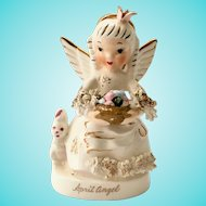 Napco S1364 April Birthday Angel Figurine with Easter Basket
